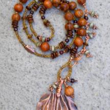 Copper Geranium Leaf Necklace