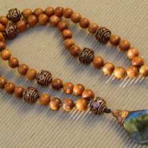 Labradorite and Wood Mala