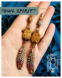 Owl Spirit Earrings by GoddessJoy Designs