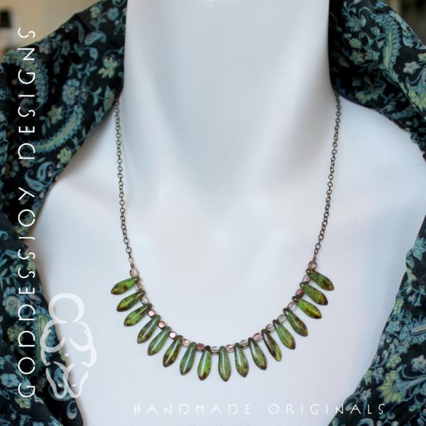 Bib Necklace - Green Daggers