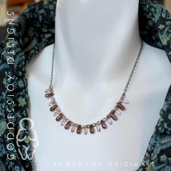 Bib Necklace - Mini Drops - Pastel Pink and Bronze